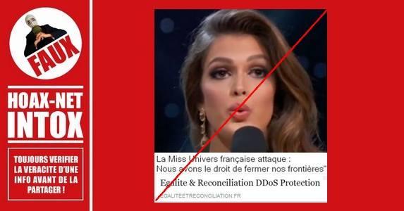 Miss Univers engagée pour l'ouverture des frontières, et non l'inverse.