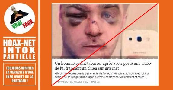 Non, cet homme n'a pas été tabassé parce qu'il maltraitait son chien.