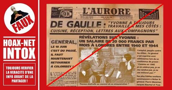 Non, Yvonne De Gaulle n'a pas touché 20 000 francs par mois entre 1940 et 1944