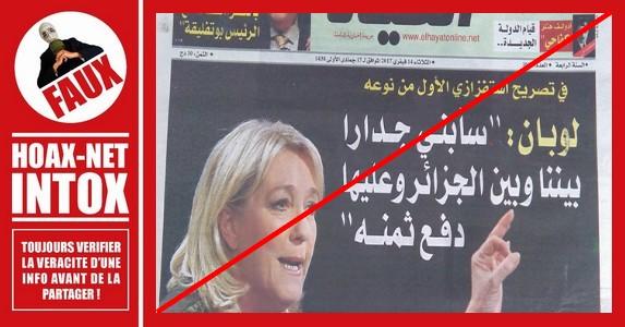 NON, Marine Le Pen n'a pas envisagé de construire un mur autour de la France, financé par l'Algérie…