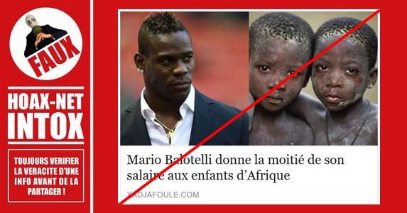 Non, Mario Balotelli ne donne pas la moitié de son salaire aux enfants africains
