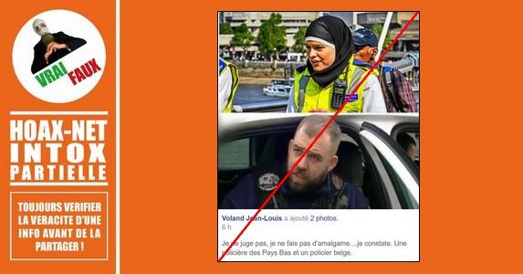 L'intox autour de la femme policière néerlandaise et du policier belge.