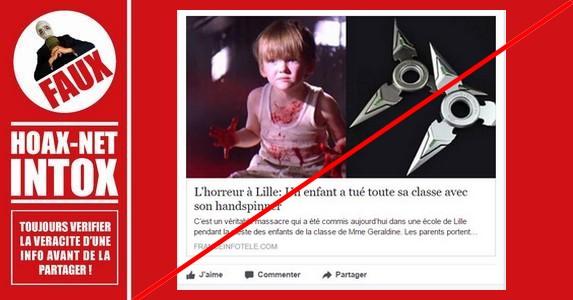 Non, il n'y a pas eu d'enfants tués à Lille avec un Hand-Spinner