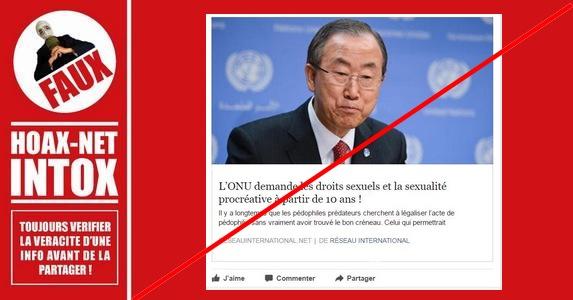 Non l'ONU ne demande pas les droits sexuels et la sexualité procréative à 10 ans