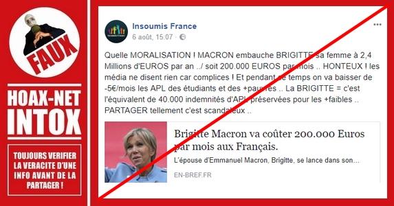 NON, Brigitte Macron ne va pas coûter 200 000€ par mois aux français !