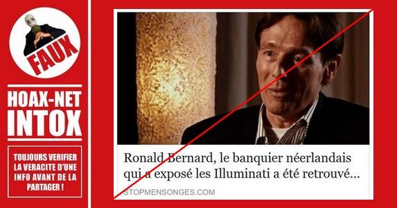 Non, le banquier néerlandais Ronald Bernard n'a pas été retrouvé mort.