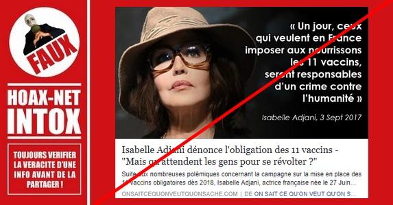 Le discours anti-vaccination d'Isabelle Adjani