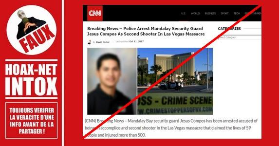 Non, La police n'a pas arrêté l'agent de sécurité Jesus Compos comme le second tireur du massacre de Las Vegas.