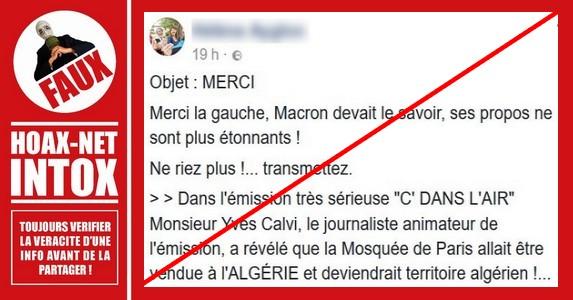 Non, la Grande mosquée de Paris ne deviendra pas un territoire algérien.