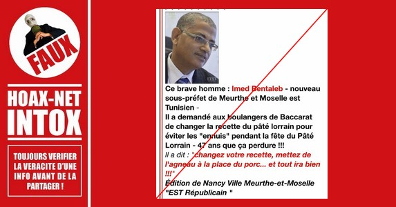 NON, Imed Bentaleb, sous-préfet de Meurthe-et-Moselle, n'a jamais demandé de remplacer le porc par de l'agneau dans la composition du pâté lorrain.