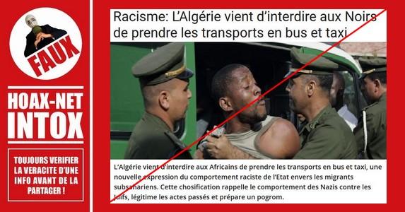 Non, les noirs ne seront pas interdits de taxis et transports en commun en Algérie.