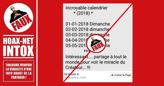 Le FAUX calendrier de l'année 2018