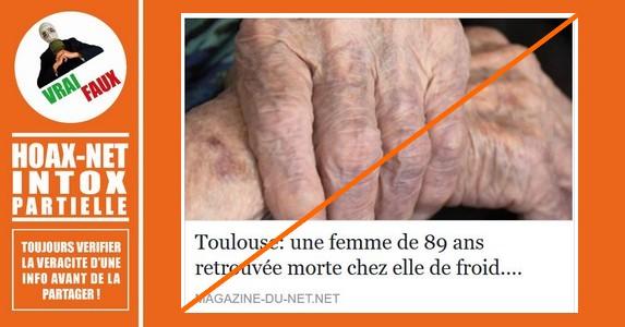 Toulouse : une octogénaire probablement morte de froid chez elle…OUI MAIS…