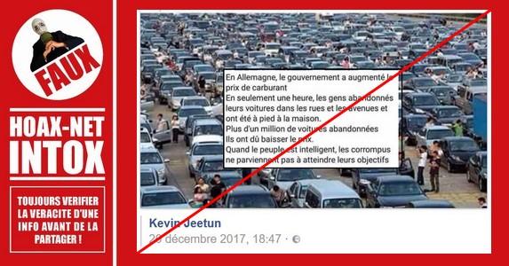 Non, cette photo n'est pas une révolte des automobilistes en Allemagne.