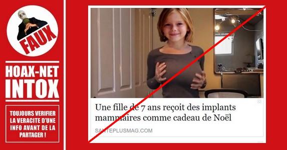 NON, une fille de 7 ans n'a pas reçu des implants mammaires comme cadeau de Noël.