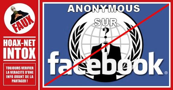 NON, «Anonymous» n'a pas de page sur Facebook.