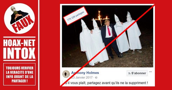 Non, Donald Trump ne pose pas en photo avec le  Ku Klux Klan.