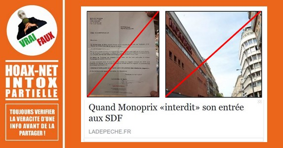 Mise au point sur l'interdiction des SDF dans le MONOPRIX de Toulouse.