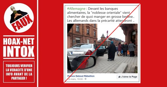 Non, cette musulmane ne vient pas se ravitailler auprès d'une banque alimentaire en Mercedes.