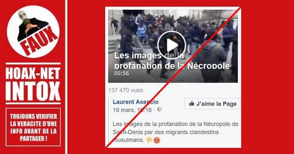 Non, des immigrants «musulmans» n'ont pas profané la basilique Saint-Denis.