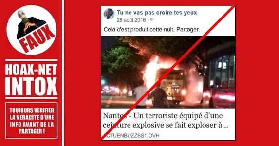 Non, aucun attentat suicide n'a eu lieu à Nantes en 2016.