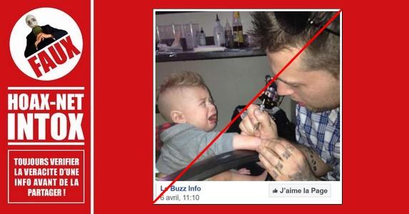 Non, cet enfant de 9 mois n'a pas été tatoué par son père.