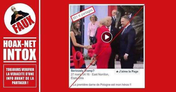 Non, la première dame de Pologne n'a pas refusé la poignée de mains de Donald TRUMP.