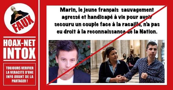 Il est FAUX de dire que Marin n'a pas eu droit à la reconnaissance de la nation.