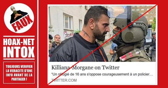 NON, il ne s'agit pas d'un courageux réfugié de 16 ans face à un policier