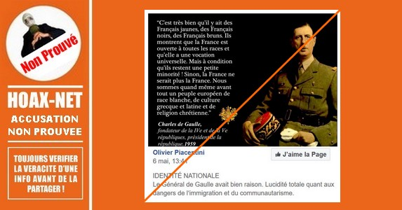 MISE AU POINT sur les propos qu'aurait tenus le Général DE GAULLE concernant la «race blanche»