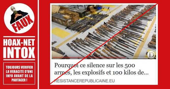 Non, il n'y a eu aucun silence médiatique sur les armes, explosifs et munitions saisies.