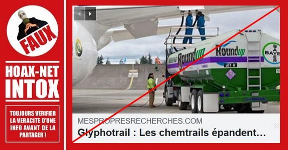 Non, des avions ne répandent pas du glyphosate.
