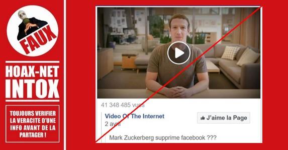 Non, Mark Zuckerberg n'a pas annoncé la fermeture de Facebook.