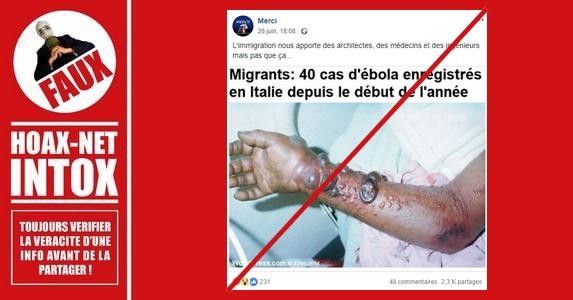 Non, il n'y a pas d'épidémie d'Ebola en Italie à cause des migrants.