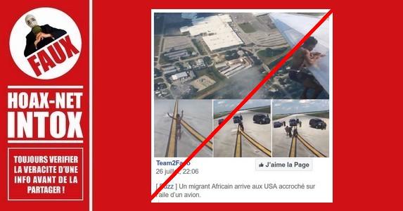 Non, un migrant africain n'est pas arrivé aux USA accroché à l'aile d'un avion.