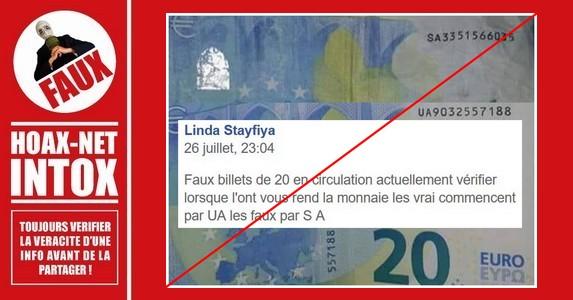 Non, les billets de 20€ dont le numéro commence par SA ne sont pas de FAUX billets.