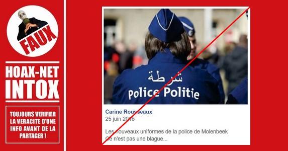 Non, la police de Molenbeek n'a pas d'inscription en arabe sur ses uniformes.