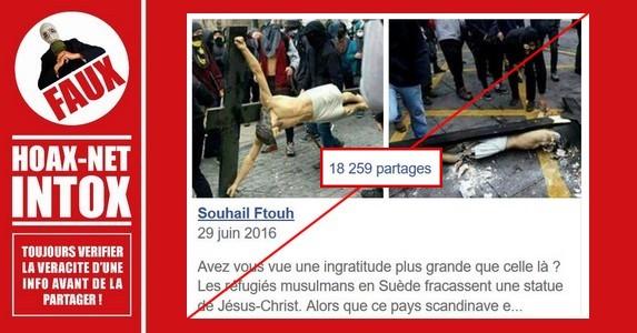 Non, ce ne sont pas des réfugiés musulmans qui ont détruit la croix du christ en Suède