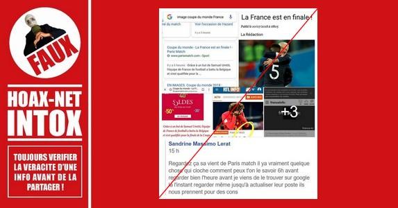 NON, Les Médias n'ont pas publié que la FRANCE était en finale avant que le match ne soit joué.