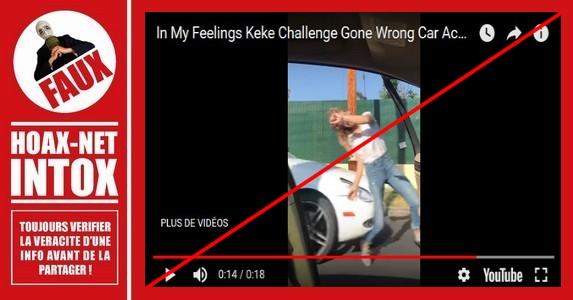 Non, cette jeune femme n'a pas été frappée par une automobile en effectuant le Défi «Keke Challenger»