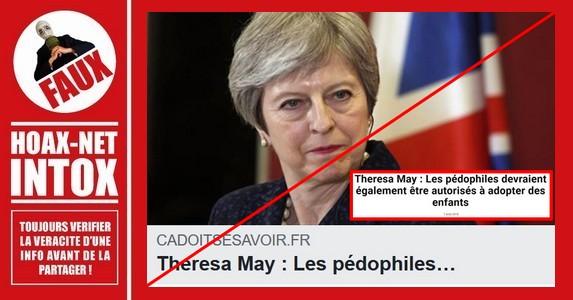 Non, Teresa May n'a jamais dit qu'elle était favorable à l'adoption d'un enfant par des pédophiles.