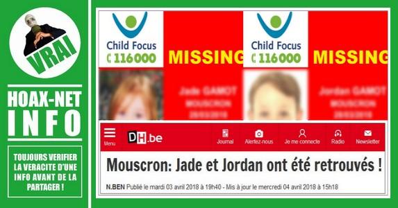 4 AVRIL 2018-Moucron (Belgique) Jade et Jordan ont été RETROUVES