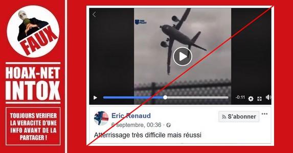 FAUSSES vidéos d'un avion réalisant un atterrissage difficile.