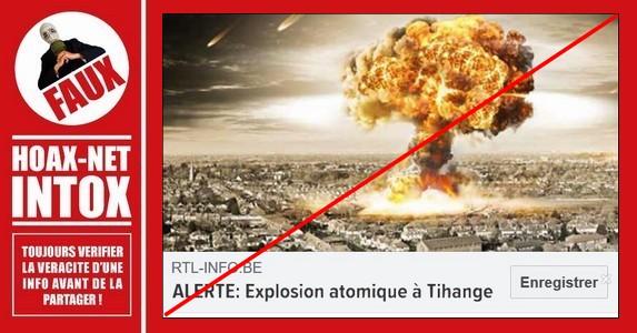 NON, il n'y a pas eu d'alerte concernant une explosion atomique à Tihange