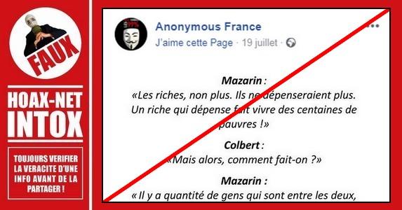 Non, les propos tenus par Mazarin et Colbert ne sont pas réels