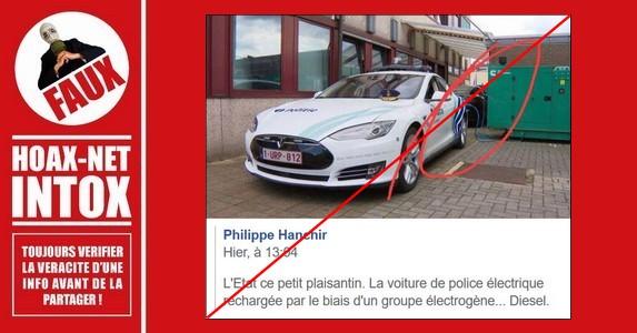 Non, cette voiture de police n'est pas rechargée par un groupe électrogène au diesel.
