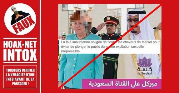 Non, les cheveux d'Angela Merkel n'ont pas été floutés à la télévision saoudienne.