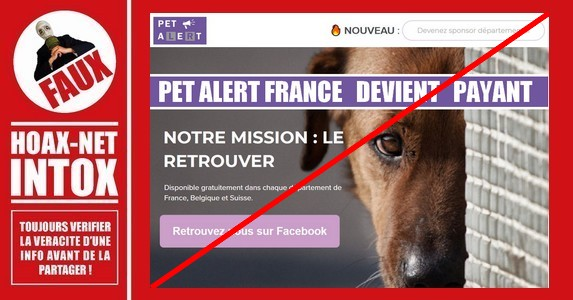 NON, Pet Alert France ne sera pas payant.