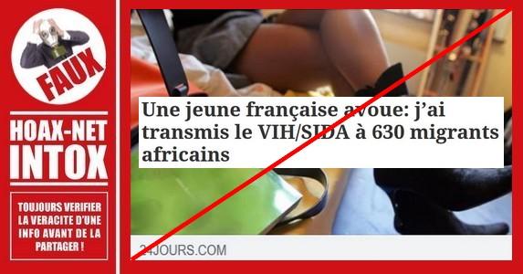 Non, une jeune française n'a pas avoué avoir transmis le SIDA à 630 migrants africains