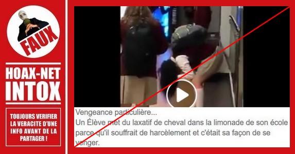 Non, cette vidéo ne montre pas des élèves ayant bu du laxatif versé dans leurs verres.